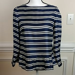 Vineyard Vines Silk Ruffle Navy  Striped Top